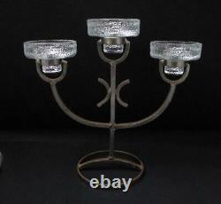 MID Century Modern Swedish Wrought Iron & Glass Candelabra Candle Holder Design