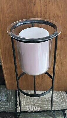 MINT Retired Partylite Seville 3-Wick Candle + Hurricane Glass + Iron Stand