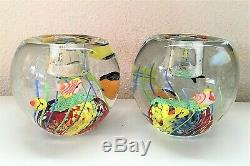 MURANO Sommerso Aquarium Fish Art Glass VASE Blue & Under the Sea CANDLE HOLDERS