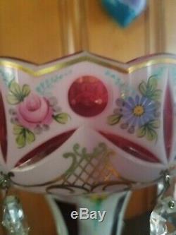 Mantle Lusters Cranberry Vintage Bohemian Antique Prisms Czech 14 in