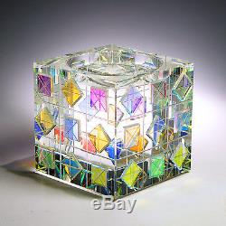 Mesmerizing Modern Optic Crystal CANDLE HOLDER with Dichroic Glass by Ray Lapsys