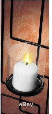 Metal Wall Sconce Set of 2 Candle Holder Black Iron Glass Votive Home Decor