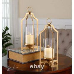 Metallic Gold Cage Lantern Candle Holders S/2 Transitional