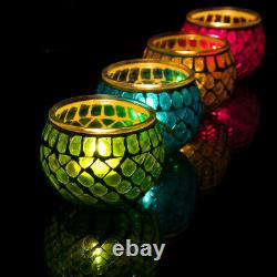 Mosaic Glass Candle Holder Jar Tealight Holders with 8 Hour Tea Light Candles