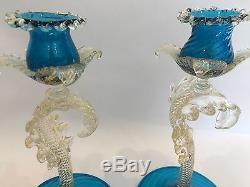 Murano Ercole Barovier Art Glass Gold Flecks Candle Sticks