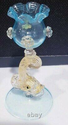 Murano Salviati Gold Flakes Blue Art Glass Yellow Blown Dolphin Candleholder