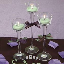 NEW 96 bulk Long-Stem Glass Tealight Candleholders Comes with 96pcs Candles