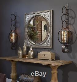 New Huge 39 Rust Brown Metal Mercury Glass Wall Sconce Candle Holder Hurricane