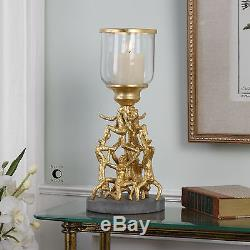 NEW LARGE 16 METALLIC GOLD METAL CANDELABRA CANDLE HOLDER GLASS HURRICANE TOP