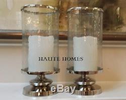 New Large Modern Clic Silver Hurricane Candle Holder Hammered Gl Set 2