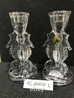 NEW Waterford SEAHORSE Crystal Candle Holder (2) CANDLESTICKS # 40007291 NIB