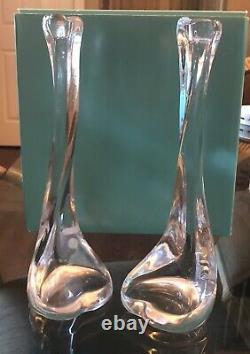NIB Vtg Rare Tiffany & Co Elsa Peretti Clear Glass Bone Candlestick Holders