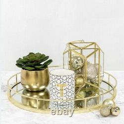 New Gold Round Mirror Base Candle Plate Tray Tealight Holder Table Centrepiece