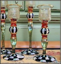 Nwt Set Of 2! Retired Blooming Mackenzie Childs Glass Candlesticks Courtly Check