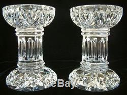 O'KEEFFE AUTOGRAPH Waterford Crystal Bethany Pillar Candleholder Candlestick Set
