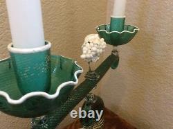 OLD Murano Glass Centerpiece Candle Candlesticks Cornucopia