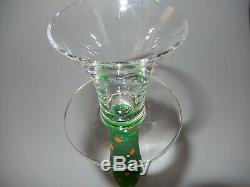 Orrefors Celeste Anne Nilson Set of 3 Green Clear & Polka Dot Candle Holder