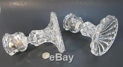 PAIR BACCARAT France Crystal BAMBOUS SWIRL Hurricane Candlestick Candle Lamps