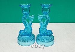 PAIR Tiffin Dolphin Fish Blue Glass Candle Holders Candlesticks c1930s