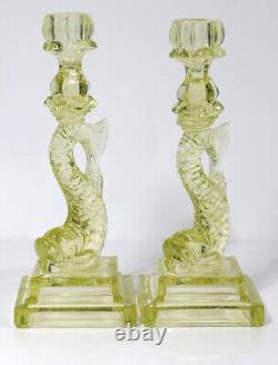 PAIR VASELINE GLASS KOI FISH CANDLESTICKS Candle Holders Imperial Dolphin