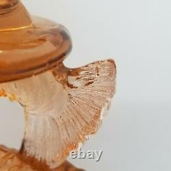 PAIR VINTAGE 7¾ PINK PEACH KOI FISH DOLPHIN CANDLESTICKS 2pc SET GLASS