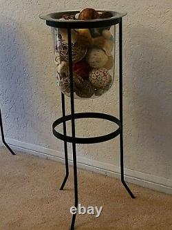 PARTYLITE SEVILLE 3-Wick Candle Stand withHurricane Glass & Decor EUC RETIRED