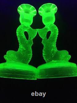 Pair (2) Uranium Glass Koi Fish Candlesticks Candle Holders RARE Circular Base