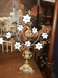 Pair Antique French Gilt Brass Church Altar Candelabras Milk Glass Floral 25t