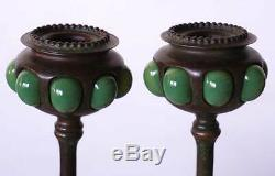 Pair Antique Tiffany Studios Bronze Favrile Glass Shade 1200 Root Candlesticks c