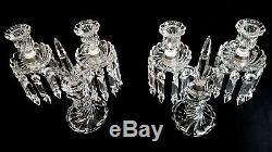Pair Baccarat Candelabras 2 Lights Bambous Tors Pattern Early 20th Century