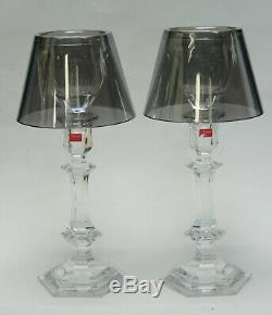 Pair Baccarat Harcourt Our Fire Silver Shade Philippe Starck Candle Holder 13