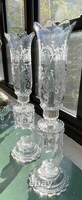 Pair Baccarat crystal Dauphine hurricane lamp candle holder candlestick drip bow