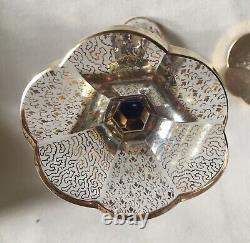 Pair Bohemian Czech Blue Cabochon Moser Glass Candlesticks (2)