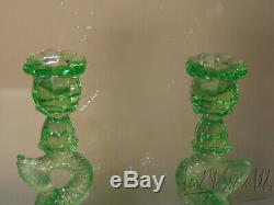 Pair Cambridge Vaseline Emerald Green 9 1/2 Dolphin Candle Holders-#109