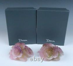 Pair Daum Pate de Verre Bougeoir Bas Roses Candle Holders Crystal Candlestick