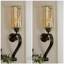 Pair Joselyn XXL 30 Aged Bronze Forged Metal Glass Wall Sconce Candle Holders