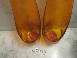 Pair Mid Century Taperglow Stretch Viking Orange withYellow Glass Candle Holders