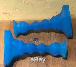 Pair Mt. Washington Glass Starch Blue Hexagonal Candlesticks, Hexagonal Base