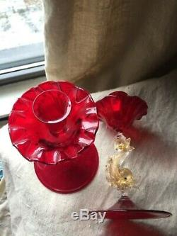 Pair Murano Venetian Glass Salviati Ruby Red Dolphin Candlesticks Candle Holders