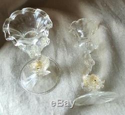 Pair Murano Venetian Glass by Salviati Gold Aventurine Dolphin Candlesticks
