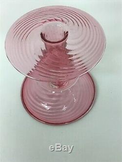Pair Of Cranberry Swirl Steuben Glass Candlesticks Circa 1920s
