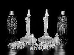 Pair Of Magnificent Single Baccarat Crystal Enfant Candelabra/candle Holder