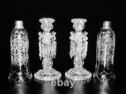 Pair Of Magnificent Single Light Baccarat Crystal Candelabra / Candle Holder