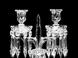 Pair Of Magnificent Two Light Baccarat Crystal Candelabra / Candle Holder