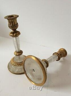 Pair Of Period Rock Crystal And Ormulu Mounted Candlesticks
