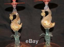 Pair Of Salviati Swan Candleholders 3 Color Venetian Murano