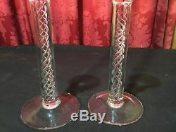 Pair Of Vintage Crystal Art Glass Candlesticks With Double Helix Air Twist Stem