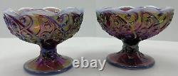 Pair Of Vintage FENTON LILY OF THE VALLEY FAIRY LAMP Purple Carnival Glass