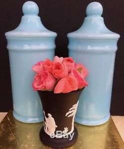 Pair Portieux Vallerysthal Blue Opaline Glass Apothecary Jars With Lids