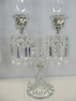 Pair Signed Baccarat Crystal Bambous 2 Light Candelabras Etched Hurricane Shades